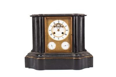 Lot 1185 - A LATE 19TH CENTURY BLACK SLATE MANTEL CLOCK
