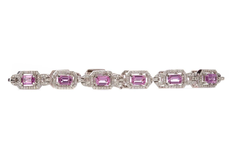 Lot 887 - A PINK SAPPHIRE AND DIAMOND BRACELET