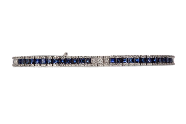 Lot 894 - A SAPPHIRE AND DIAMOND BRACELET
