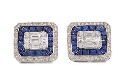 Lot 1528 - A PAIR OF SAPPHIRE AND DIAMOND EARRINGS