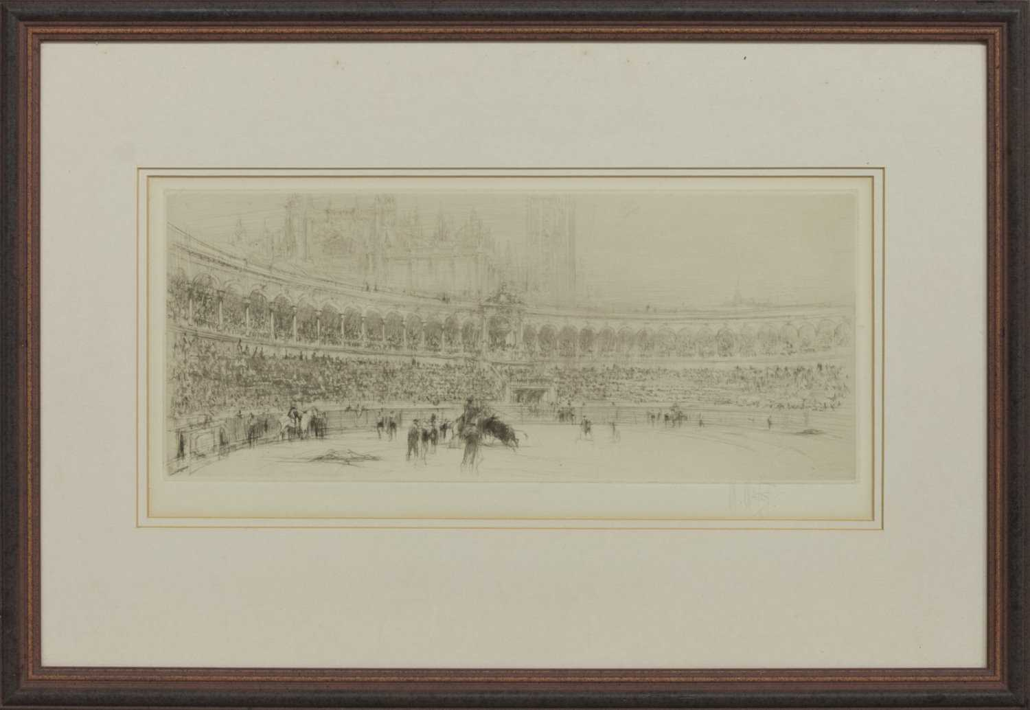 Lot 16 - BULLFIGHT, AN ETCHING BY WILLIAM WALCOT