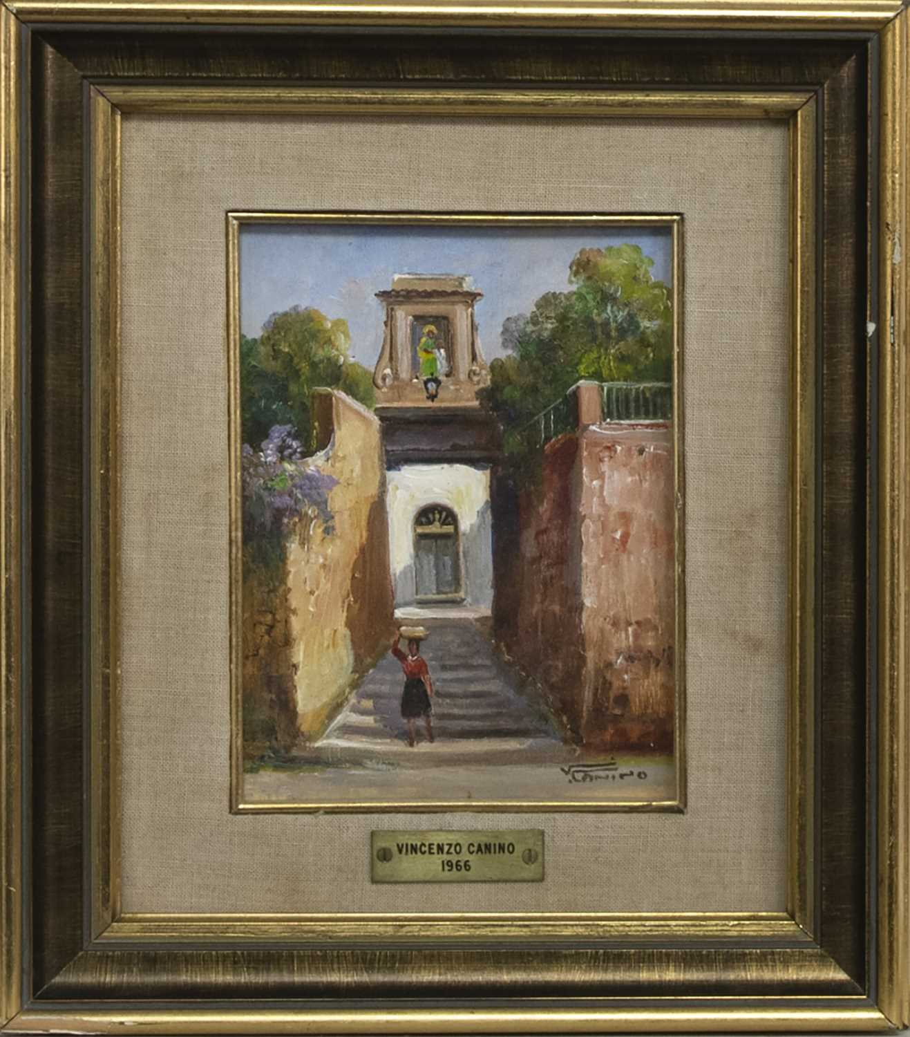 Lot 2 - WOMAN WITH A BASKET, AN OIL BY VINCENZO CANINO