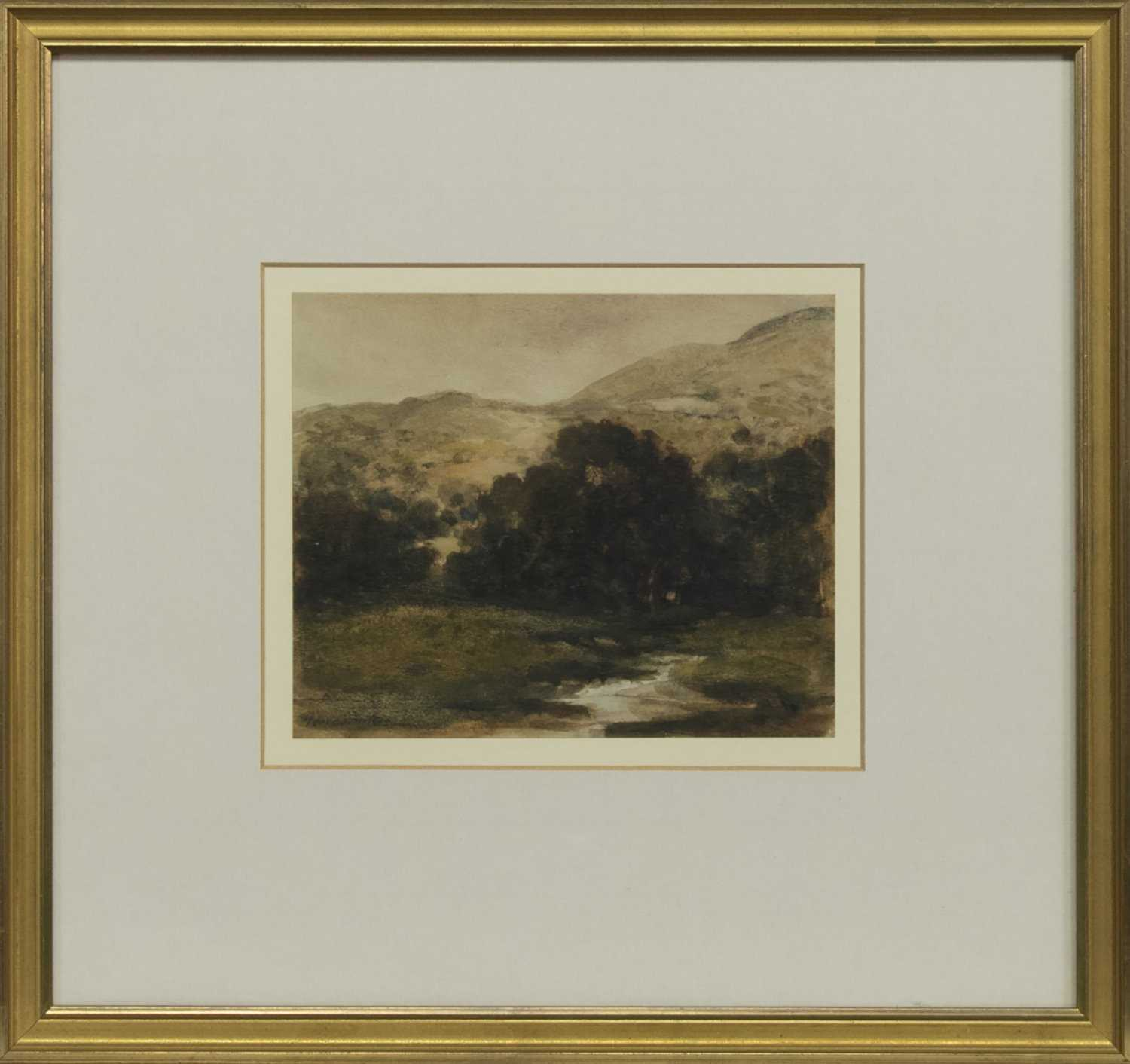 Lot 3 - RIVER AND HILLS, A WATERCOLOUR BY GEORGE SYKES
