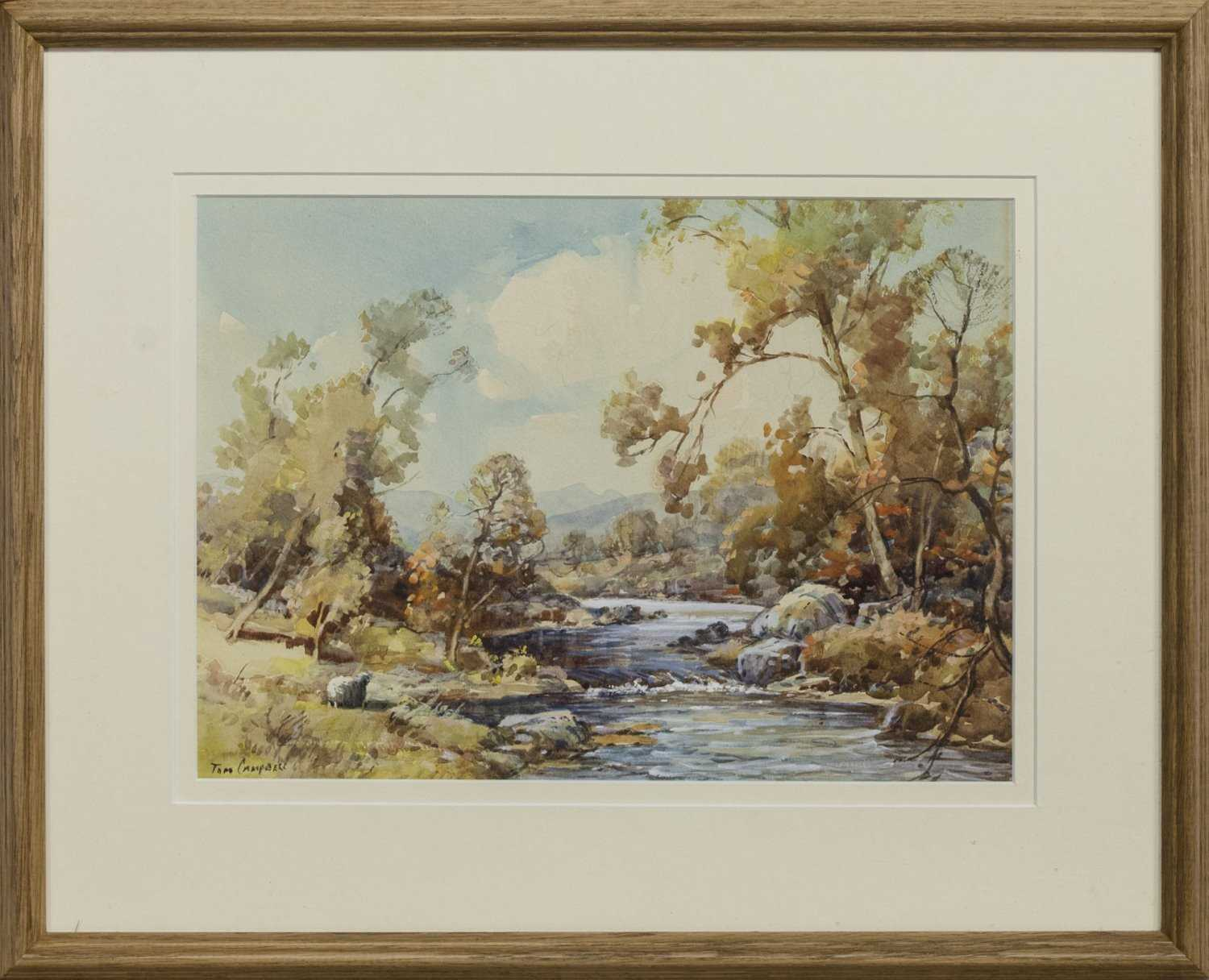 Lot 4 - THE LONE SHEEP, AUTUMN, A WATERCOLOUR BY TOM CAMPBELL