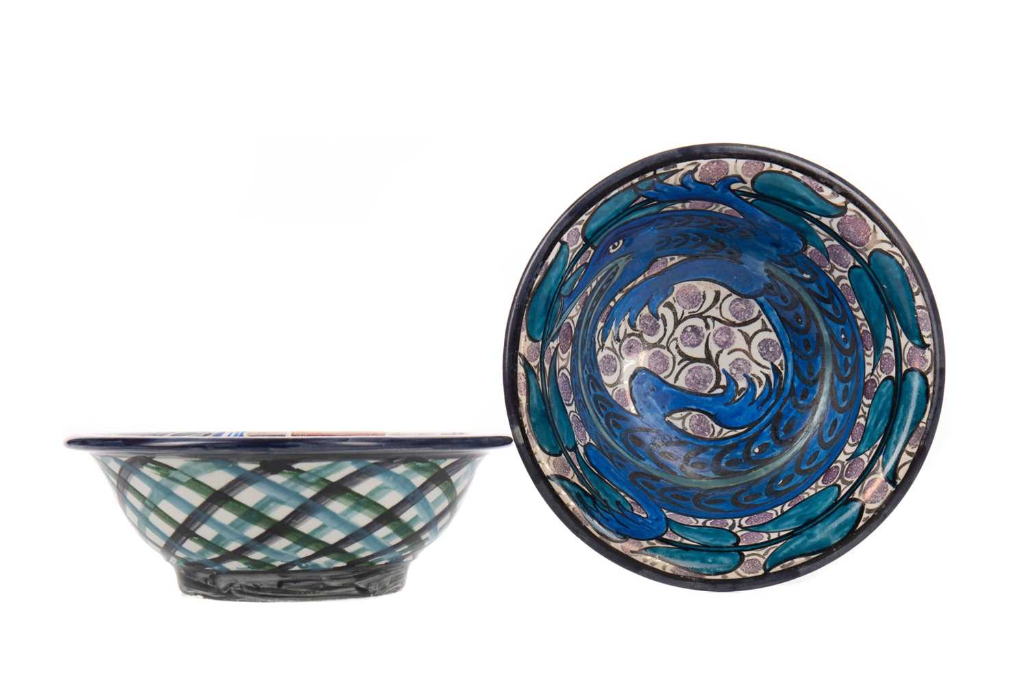 Lot 1021 - TWO ARTS & CRAFTS LUSTRE BOWLS BY JOHN PEARSON (1859-1930)