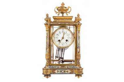 Lot 1192 - A LATE 19TH CENTURY FRENCH GILTMETAL AND CHAMPLEVE ENAMEL MANTEL CLOCK