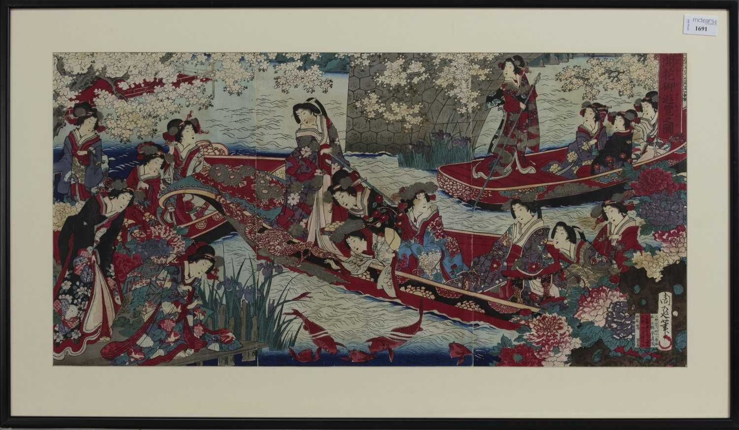 Lot 1691 - AN EARLY 20TH CENTURY JAPANESE WOODBLOCK PRINT TRIPTYCH