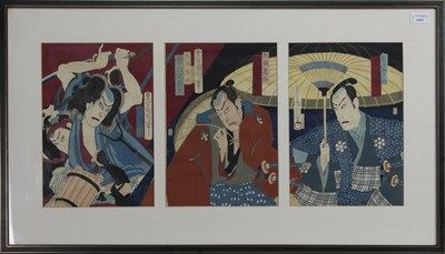 Lot 1694 - AN EARLY 20TH CENTURY JAPANESE WOODBLOCK PRINT TRIPTYCH