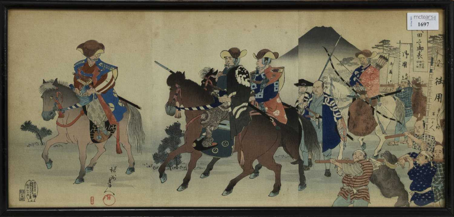 Lot 1697 - AN EARLY 20TH CENTURY JAPANESE WOODBLOCK PRINT TRIPTYCH