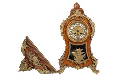 Lot 1193 - A FRENCH KINGWOOD BRACKET CLOCK OF ROCOCO DESIGN AND WALL BRACKET