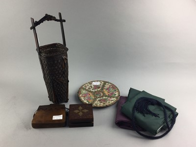 Lot 4 - A CHINESE FAMILLE ROSE CIRCULAR CHARGER, WOOD ITEMS AND TEXTILES