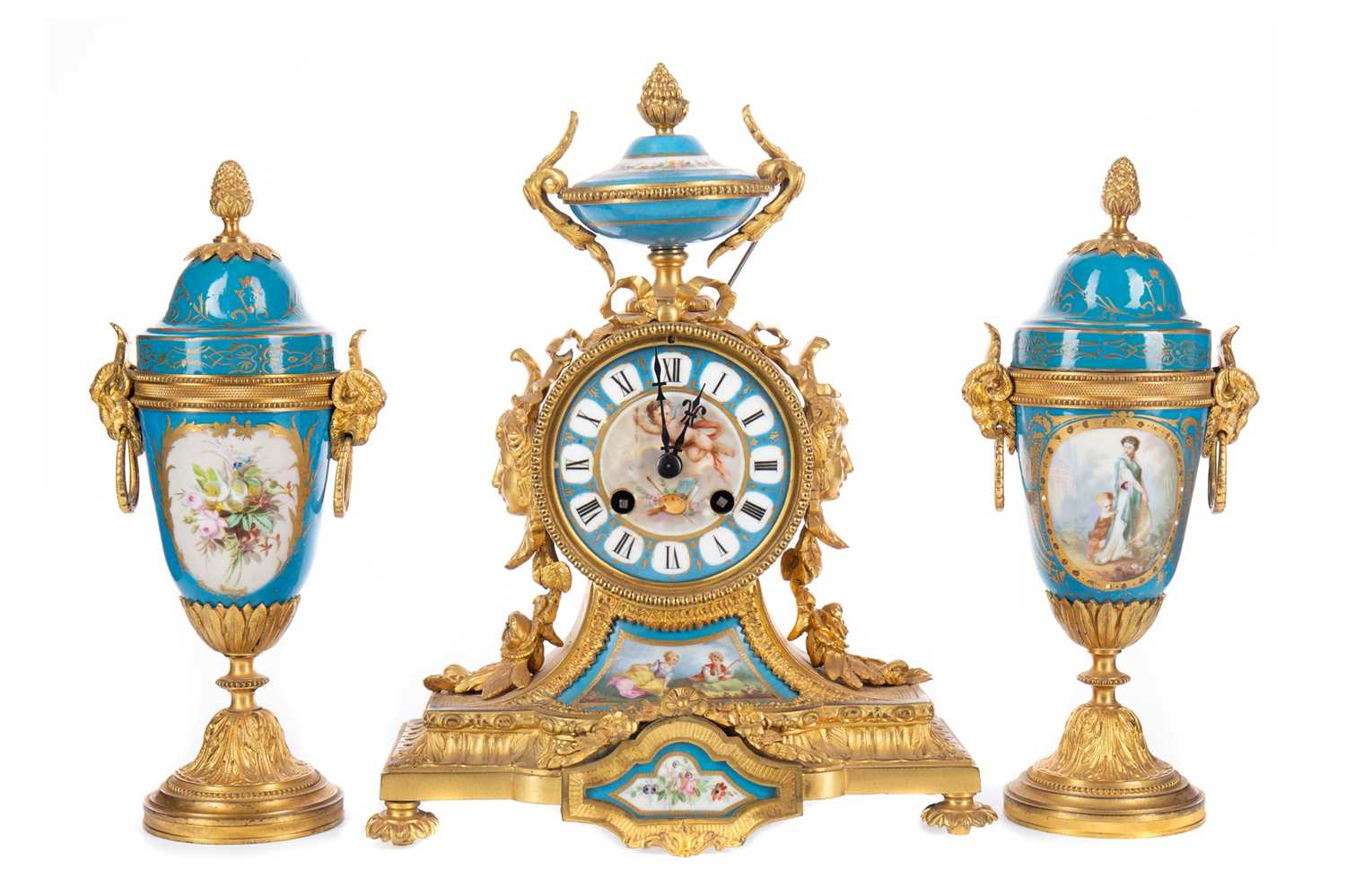 Lot 1196 - A LATE 19TH CENTURY FRENCH GILTMETAL AND PORCELAIN CLOCK GARNITURE