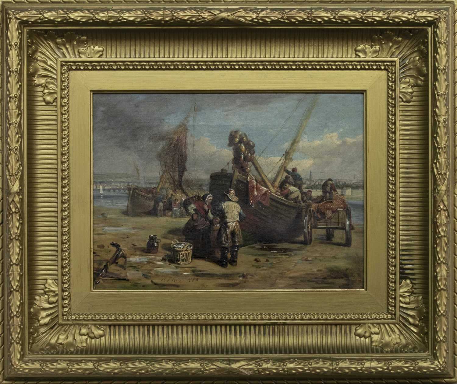 Lot 9 - UNPACKING THE BOATS, AN OIL BY ROBERT THORBURN ROSS
