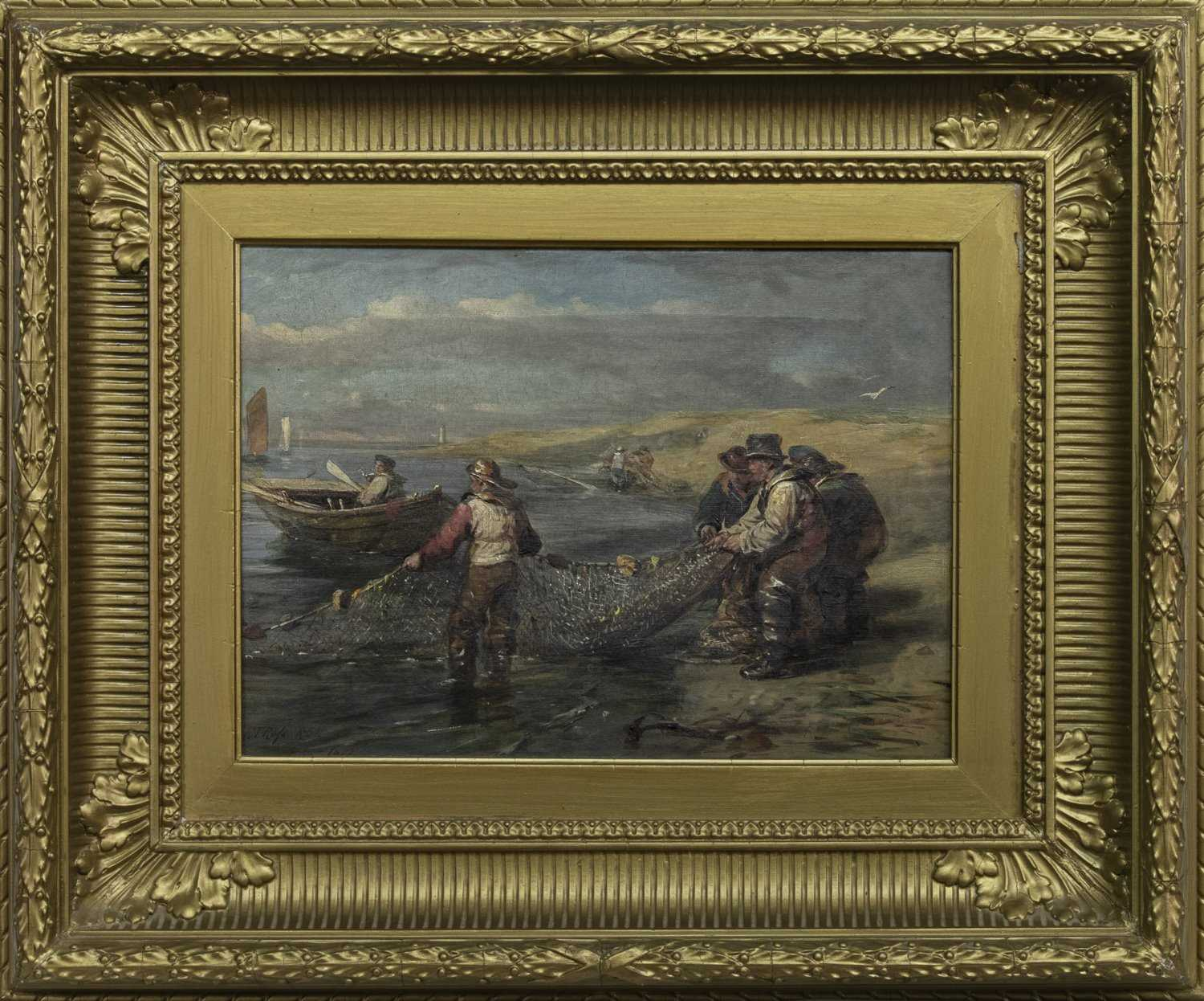 Lot 10 - CLEARING THE NETS, AN OIL BY ROBERT THORBURN ROSS