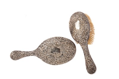 Lot 464 - A VICTORIAN SILVER-BACKED HAIRBRUSH AND HAND MIRROR