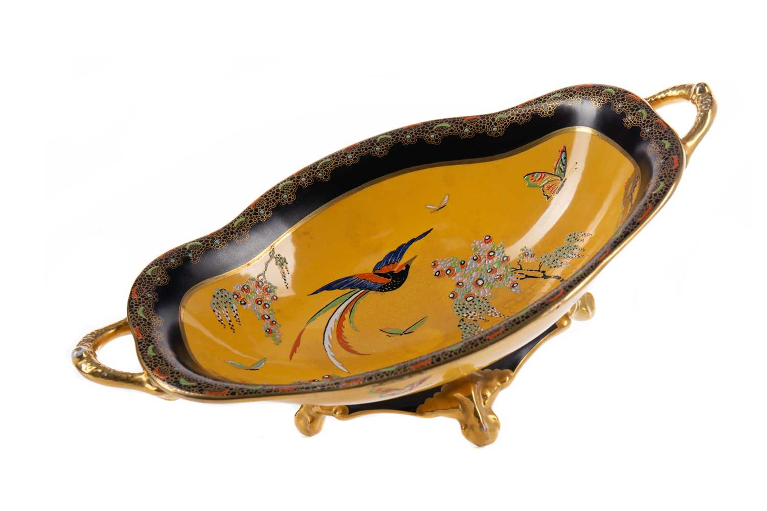 Lot 1043 - A CARLTON WARE 'PARADISE BIRD AND TREE' PATTERN COMPORT