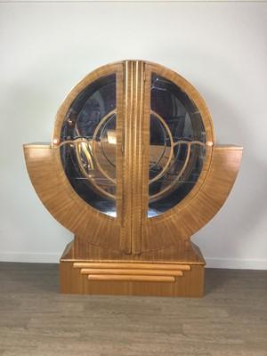 Lot 701 - AN ART DECO WALNUT DISPLAY CABINET