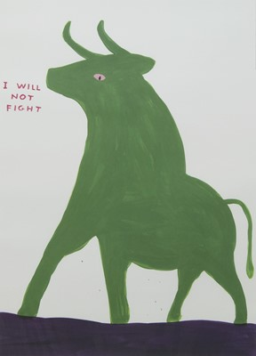 Lot 563 - I WILL NOT FIGHT, A LITHOGRAPH BY DAVID SHRIGLEY