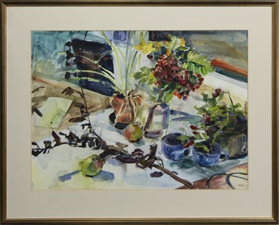 Lot 568 - STILL LIFE WITH ROWAN BERRIES, A WATERCOLOUR BY SHONA BARR
