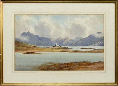 Lot 15 - SEA LOCH WITH LIGHTHOUSE, A WATERCOLOUR BY GEORGE DRUMMOND FISH
