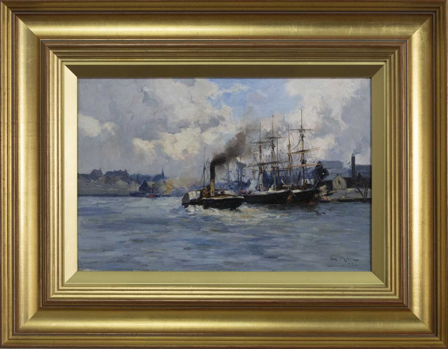 Lot 2045 - STEAM AND SAIL AT A SCOTTISH QUAYSIDE, AN OIL BY JOE MILNE