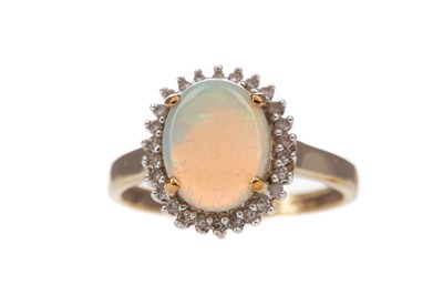 Lot 316 - AN OPAL AND DIAMOND RING