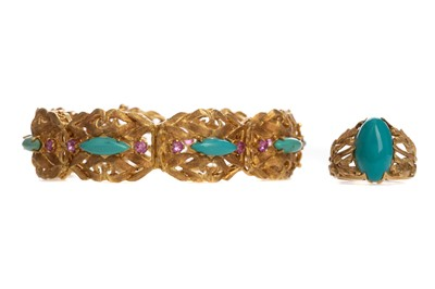 Lot 319 - A TURQUOISE RING AND BRACELET