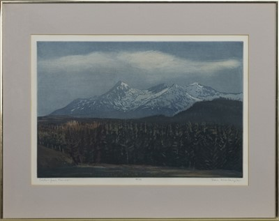 Lot 588 - CUILLINS FROM PEINMORE, A COLOURED ETCHING BY TOM MACKENZIE