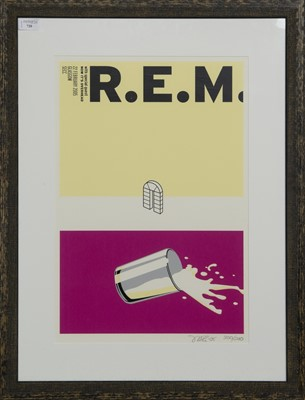 Lot 720 - R.E.M. 'NOW IT'S OVERHEAD', A LIMITED EDITION LITHOGRAPH