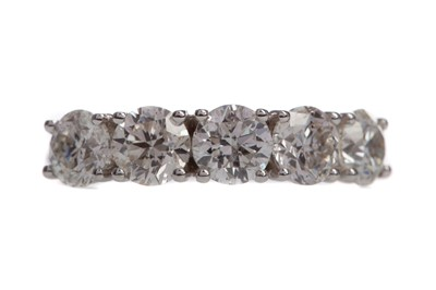 Lot 505 - A CERTIFICATED DIAMOND FIVE STONE RING