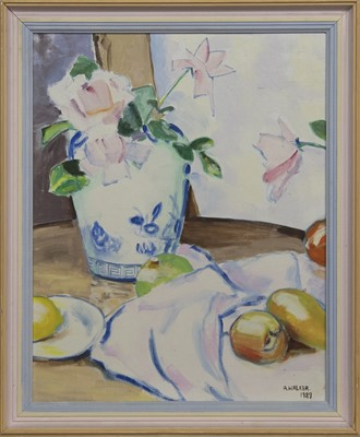 Lot 576 - STILL LIFE WITH BLUE AND WHITE VASE, AN OIL BY ANDREW WALKER