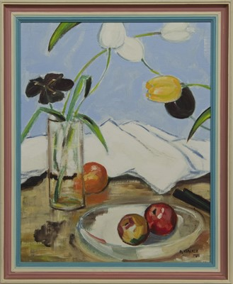 Lot 577 - STILL LIFE WITH APPLES, AN OIL BY ANDREW WALKER