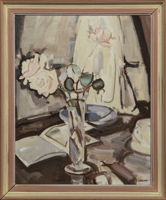 Lot 579 - STILL LIFE WITH A BOOK, AN OIL BY ANDREW WALKER