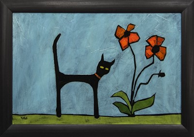Lot 589 - CAT AND FLOWER, AN OIL BY COLIN RUFFELL