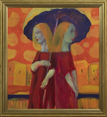 Lot 595 - COUPLE UNDER THE RAIN, AN OIL BY ANDREI BLUDOV