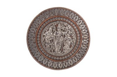 Lot 1689 - AN EASTERN SILVER OVERLAID COPPER DISH
