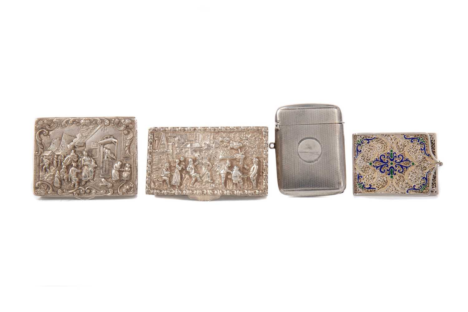 Lot 471 - TWO CONTINENTAL SILVER BOXES, ALONG WITH A VESTA AND A FILIGREE CASE