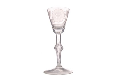 Lot 1001 - AN UNUSUAL MID-18TH CENTURY JACOBITE WINE GLASS