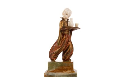 Lot 702 - AN ART DECO IVORY AND BRONZE FIGURE BY FERDINAND PREISS