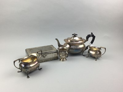Lot 6 - A SILVER PLATED THREE PIECE TEA SERVICE AND OTHER ITEMS