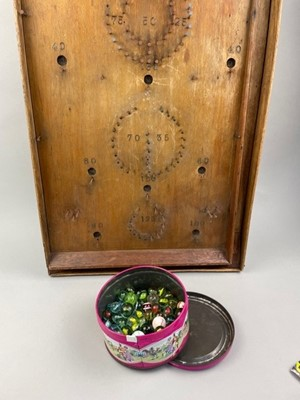 Lot 16 - A BAGATELLE BOARD ALONG WITH A COLLECTION OF MARBLES