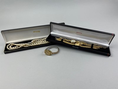 Lot 18 - A COLLECTION OF FASHION WATCHES AND A STRING OF FAUX PEARLS