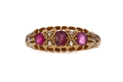 Lot 370 - A PARTIAL RUBY AND DIAMOND RING
