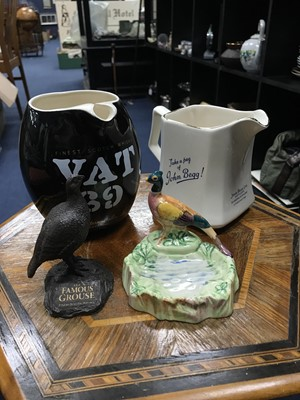 Lot 20 - A LOT OF TWO WHISKY WATER JUGS AND OTHER ITEMS