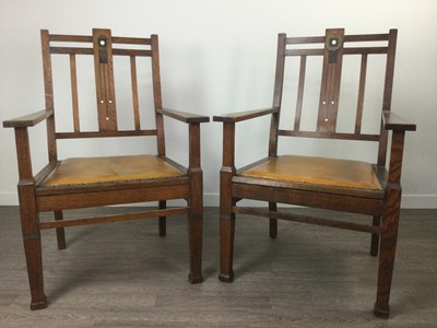Lot 1366 - A PAIR OF ARTS & CRAFTS OAK ARMCHAIRS