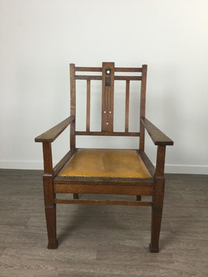 Lot 707 - A PAIR OF ARTS & CRAFTS OAK ARMCHAIRS