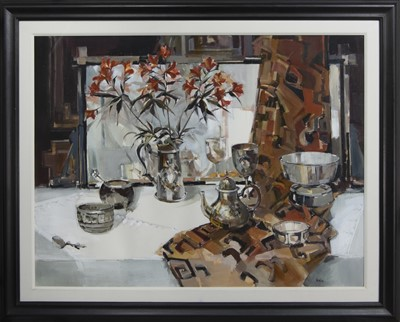 Lot 652 - THE SILVER TABLE, A LARGE MIXED MEDIA BY ETHEL WALKER