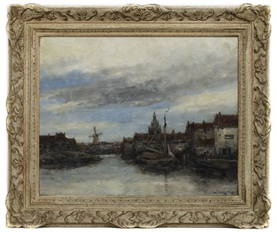 Lot 29 - AT DOCK, AN OIL BY JAN VAN COUVER