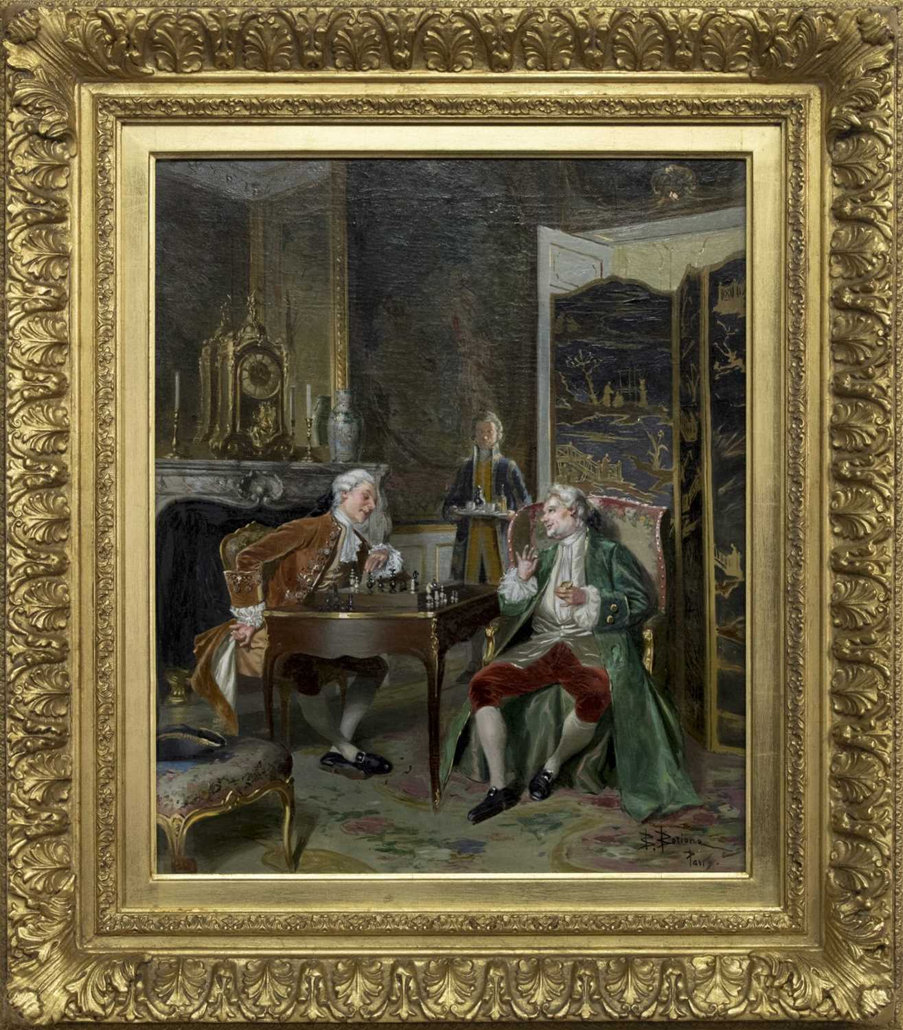 Lot 27 - CHESS PLAYERS, AN OIL BY BERARD-LOUIS BORIONE