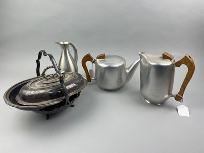 Lot 32 - A PICQUOT WARE TEAPOT AND COFFEE POT, ALONG WITH OTHER SILVER PLATE ITEMS